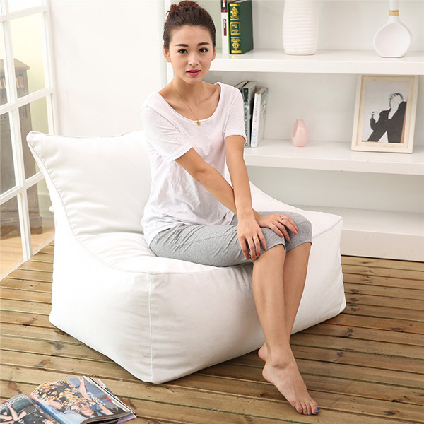 visi white PU leather lazy beanbags chair set