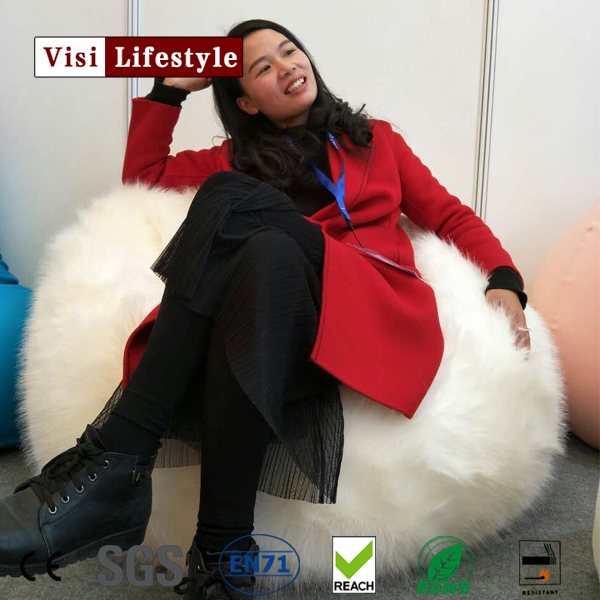 2017visi new tear drop faux fur bean bag chair